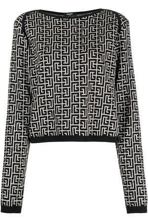 Balmain Monogram-pattern jacquard jumper