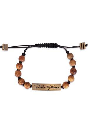 Dolce & Gabbana Beaded logo-plaque bracelet