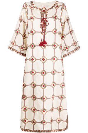 Tory Burch Geometric print linen-blend dress - Neutrals