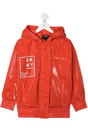 DKNY Girls Rainwear - Logo print mesh zipped jacket