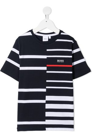 HUGO BOSS Boys T-shirts - Panelled stripe logo print T-shirt
