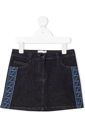 Fendi Girls Denim Skirts - FF-trim denim skirt