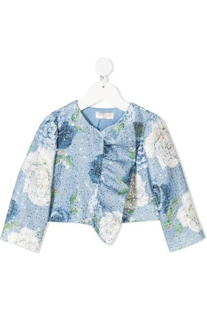 MONNALISA Girls Blazers - Floral-print tweed jacket