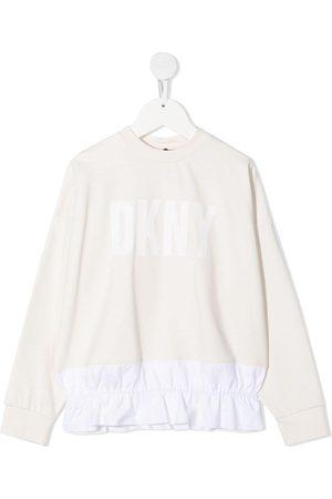 DKNY Ruffled hem logo print sweatshirt - Neutrals