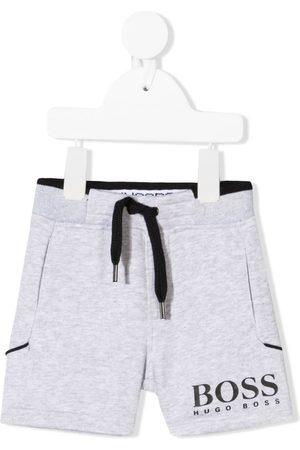 HUGO BOSS Shorts - Logo-print drawstring track shorts - Grey
