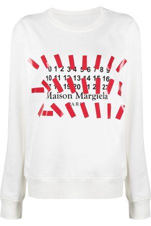 Maison Margiela Women Sweatshirts - Logo print crew neck sweatshirt