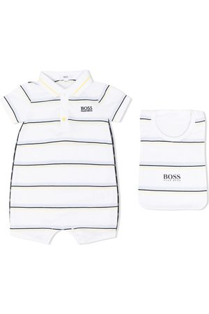 HUGO BOSS Baby Rompers - Logo-embroidered striped romper set
