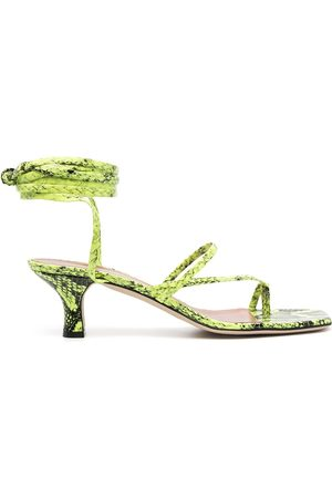 PARIS TEXAS Snakeskin-effect leather sandals