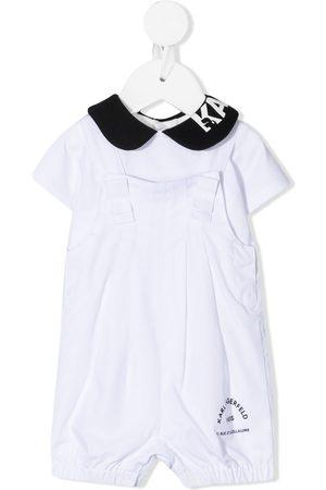 Karl Lagerfeld Logo print-collar cotton romper