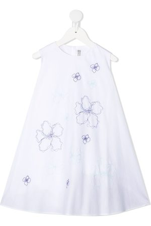 Il gufo Girls Casual Dresses - Floral-embroidered cotton dress - '0153