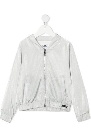 Karl Lagerfeld Metallic zipped bomber jacket