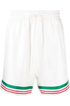 Casablanca Men Shorts - Tennis striped trim silk shorts