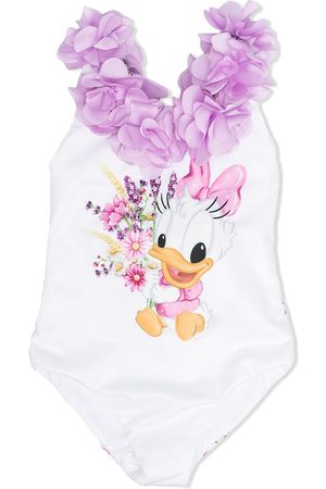 MONNALISA Petal-appliqué Daisy Duck swimsuit
