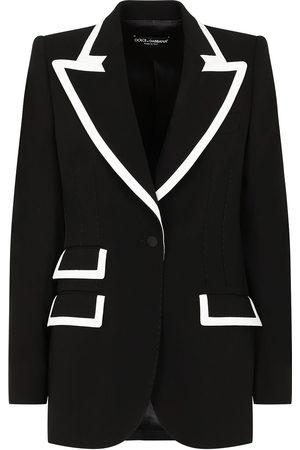 Dolce & Gabbana Women Blazers - Contrast-stripe wool-blend blazer