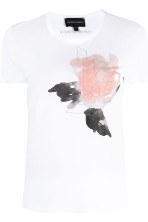 Emporio Armani Women Short Sleeve - Painterly-print short-sleeve T-shirt