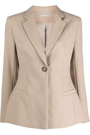 12 STOREEZ Women Blazers - Dart-detail buttoned blazer - Neutrals