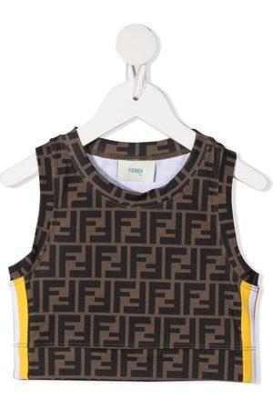 Fendi Girls Crop Tops - Logo-print crop top