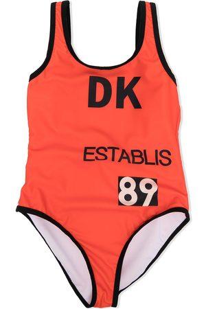 DKNY Girls Swimsuits - Logo-print swimsuit