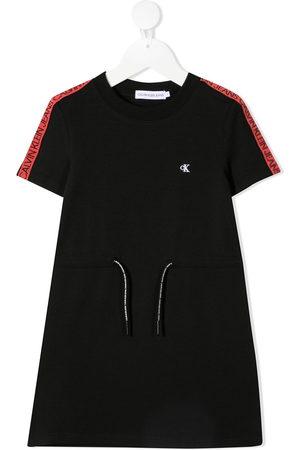 Calvin Klein Girls Casual Dresses - Logo-print drawstring short dress