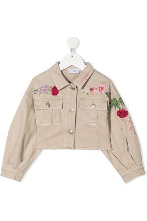 MONNALISA Embroidered-floral cotton jacket - Neutrals