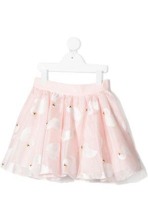 Charabia Girls Printed Skirts - Swan-print cotton skirt