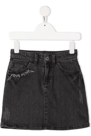 Zadig & Voltaire Girls Printed Skirts - Slogan-print denim skirt