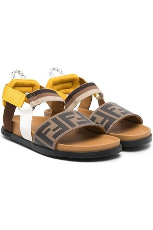 Fendi FF logo striped sandals