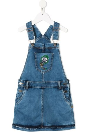 Zadig & Voltaire Girls Casual Dresses - Embroidered denim dungaree dress