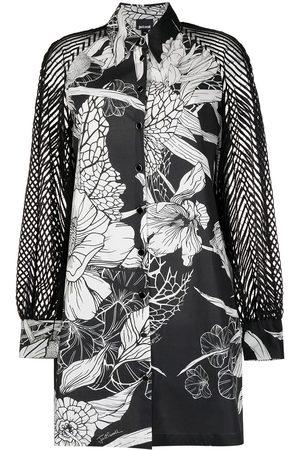 Roberto Cavalli Perforated-sleeve shirt dress