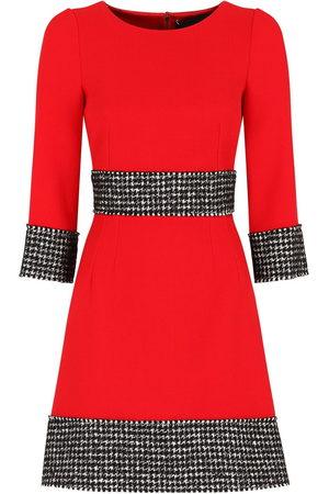 Dolce & Gabbana Houndstooth detail crepe dress