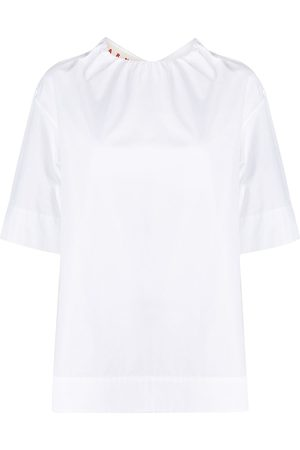 Marni Puckered-neckline poplin blouse