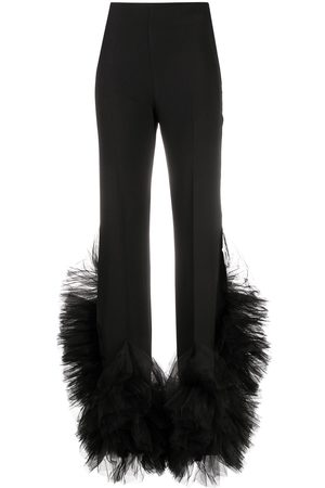 LOULOU Women Straight Leg Pants - Mesh-detail straight leg trousers