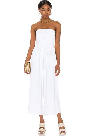 Susana Monaco Strapless Ruched Jumpsuit in White.