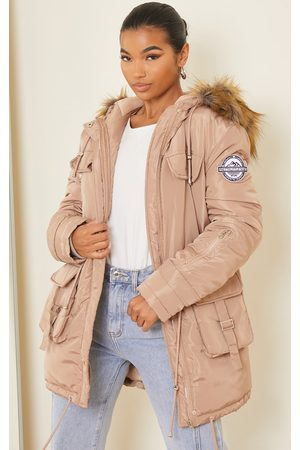 PRETTYLITTLETHING Taupe Nylon Faux Fur Hooded Parka Jacket