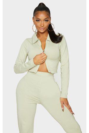 PRETTYLITTLETHING Shape Sage Cotton Collar Detail Zip Crop Top