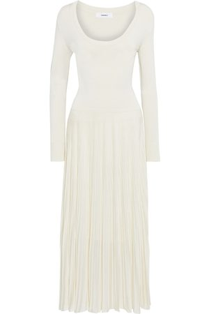 CASASOLA Woman Levina Pleated Ribbed And Stretch-knit Midi Dress Ivory Size 40