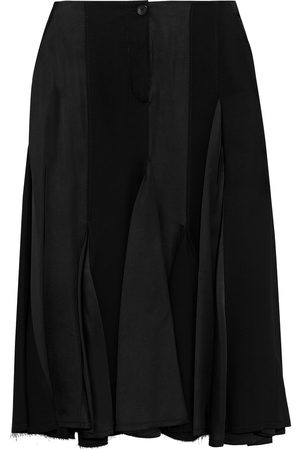 Lanvin Woman Paneled Pleated Satin And Crepe Midi Skirt Size 34