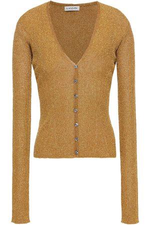 Lanvin Women Cardigans - Woman Metallic Ribbed-knit Cardigan Size M