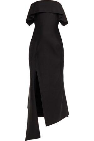 Lanvin Woman Asymmetric Wool And Silk-blend Midi Dress Size 38