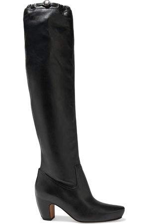 Lanvin Women Thigh High Boots - Woman Leather Knee Boots Size 37.5