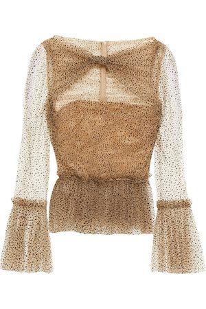 Khaite Women Blouses - Woman Joey Cutout Flocked Glittered Tulle Peplum Blouse Sand Size 0