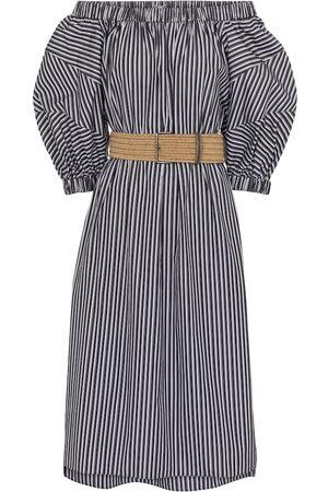 Brunello Cucinelli Striped cotton off-shoulder dress