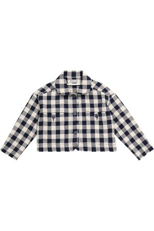Il gufo Girls Jackets - Checked cotton-blend jacket
