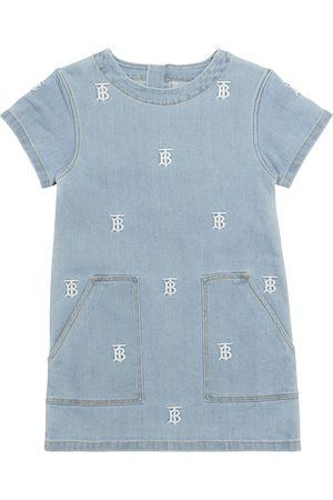 Burberry Girls Dresses - Logo embroidered denim dress