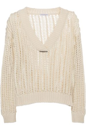 Brunello Cucinelli Embellished open-knit cotton sweater