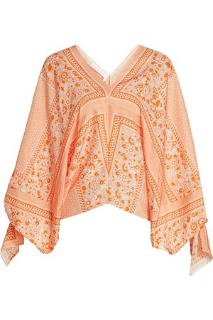 See by Chloé Women Blouses - Women's Portobello Patchwork Floral Puff-Sleeve Silk Blouse - - Size Large