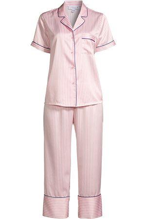 In Bloom Women Socks - Women's Cypress 2-Piece Short Sleeve & Capris Set - Coral Stripe - Size XL