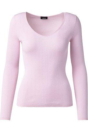 AKRIS Women Tops - Women's Sea Island Cotton Fine Ribbed V-Neck Sweater - Lilola - Size 16