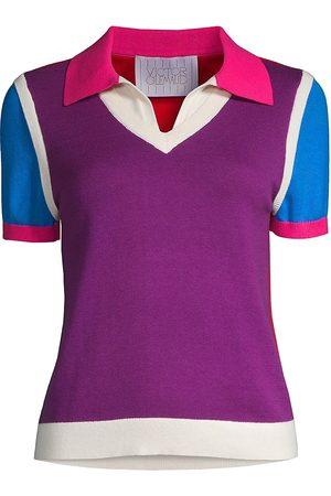 Victor Glemaud Women Polo Shirts - Women's Colorblock Polo T-Shirt - Multi - Size Medium