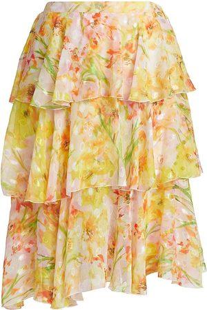 Marchesa Notte Women Asymmetrical Dresses - Women's Asymmetrical Triple Tiered Burnout Chiffon Skirt - Daffodil - Size 4